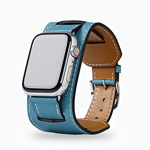 Arkrdiif Pulsera compatible con Apple Watch Series 6/SE/5/4/3/2/1, Cuff pulsera de piel de repuesto para iWatch 38 mm 40 mm 42 mm 44 mm (38 mm/40 mm, azul)