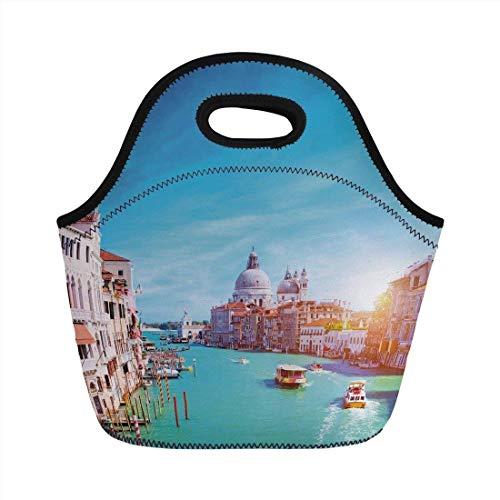 Pranzo al sacco portatile, Venezia, Canal Grande e la Basilica della Salute in una giornata di sole destinazione turistica, Borsa tote isolata cannella bianca blu cielo