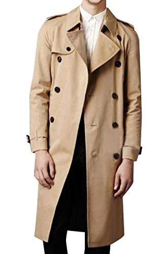 CuteRose Men's Maxi and Midi Slim Casual Trench Coat Jacket with Belt Khaki XL