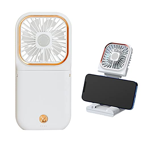 Tischventilator, Tragbar Klappbar Mini Ventilator Leise, USB Wiederaufladbar & 3 Geschwindigkeit Einstellbar Handfächer, Ventilator Klein für Reisen ,Büro, Zuhause und Im Freien (WHITE)