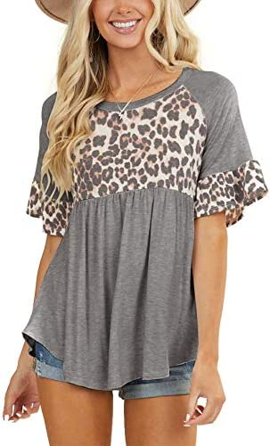 Limerose Women s Short Sleeves Summer Tops Leopard Print Round Neck Shirts Cute Babydoll Style product image