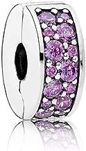 PANDORA Shining Elegance Clip Charm, Sterling Silver, Fancy Purple Cubic Zirconia, One Size