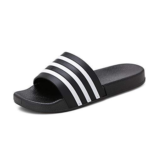 Interiores Antideslizantes Baño Sandalia,Zapatillas de Mujer Planas con Rayas Transpirables-Negro_44,Zapatillas Pantuflas de Playa de Hombre