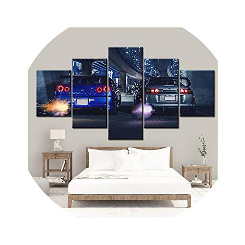 Cuadro impreso en lienzo HD de 5 piezas, marco GTR R34 VS Supra para decoración del hogar del vehículo NL00, 20 x 35 20 x 45 20 x 55 cm, lienzo