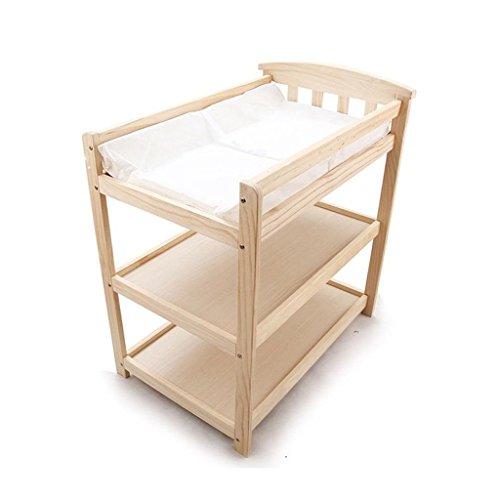 Ali@ Table à langer de bébé de trois couches en bois solide, table de soins infirmiers de table de contact de néonatale, tapis de cadeau charge 15 kilogrammes