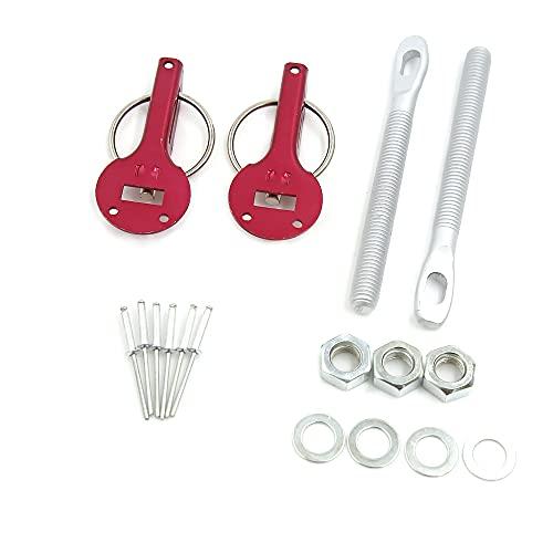 sourcing map Voiture Course Alliage Aluminium Universelle Fermoir Montage Fixation Serrure goupille Capot Rouge Kit