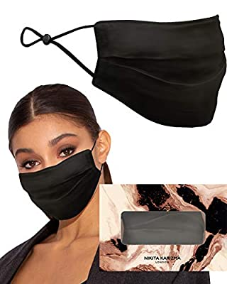 Beverly Hills Silk Mask in Black by KARIZMA 19 Momme 100% Mulberry Silk 6A Grade Fabric Face Mask
