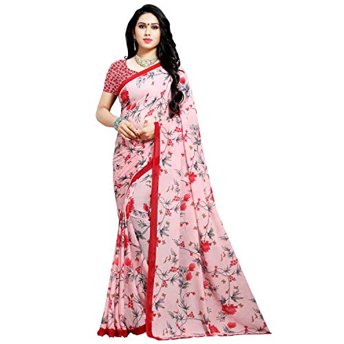 Anand Sarees Georgette with Blouse Piece Saree (1552_Pink_Free Size)