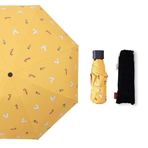 NJSDDB paraplu Winddicht Drie vouwen En Vijf vouwen Parasol UV Bescherming Zonnige of Regenachtige Mooie Stijl Vrouw Paraplu, 5-voudig Geel