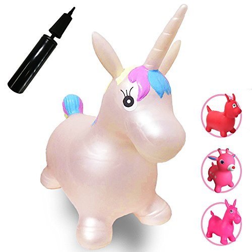 Runyuan Inflatable Jumping Unicorn for Kids Birthday Party-Ride-on Bouncy Animal Including Pump Hopper Toy-Gift for Children