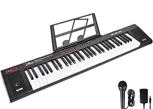 ZHRUNS Teclado eléctrico de 61 teclas y atril para partituras, instrumento musical portátil con conector para auriculares y modos de aprendizaje para principiantes (adultos y niños), color negro