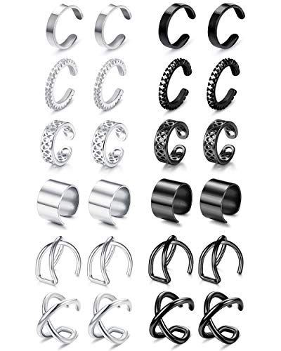 LOYALLOOK 12Pairs Stainless Steel Ear Cuff for Women Helix Cartilage Clip on Earrings Non Piercing Cartilage Earrings, Silver+Black