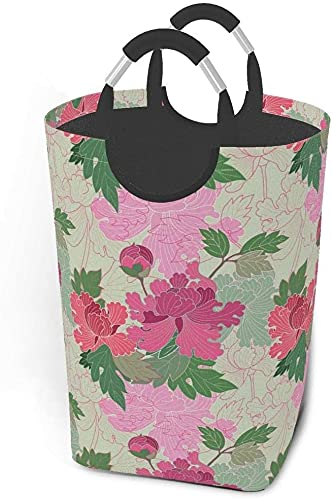 laundry hampers Dirty clothes pack Red And Pink Peonies (Seamless Pattern Kimono Style) Foldable Fabric Clothes Bag Washing Bin