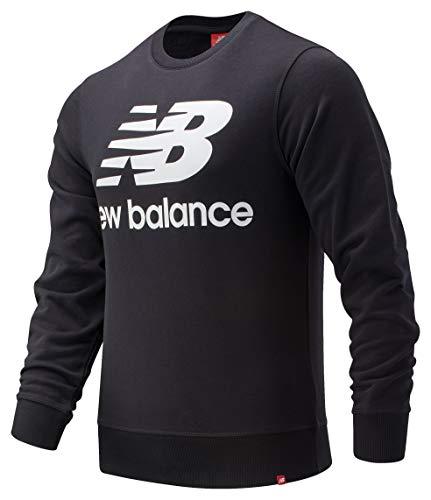 New Balance Herren Essentials Stacked Logo Crew, Herren, kurzärmelig, Essentials Stacked Logo Crew, Schwarz 19, Large