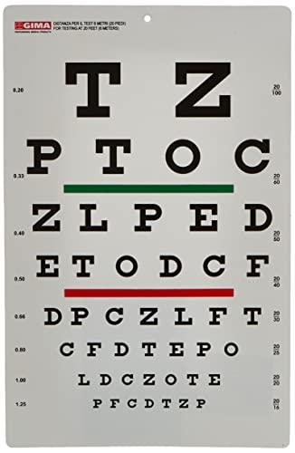 GIMA ref 31303 Mesa optométrica Snellen 23 x 35.5cm, tabla para medir la agudeza visual con barra roja y verde, distancia de trabajo 6m