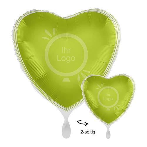 partydiscount24 Folienballons (Satin) / Werbeballons Bedrucken - Ballondruck / Digitaldruck 2-seitig - Freie Farbwahl Ø 45 cm - Herz + Gratis Luftballons (Apfelgrün, 1 Stück)