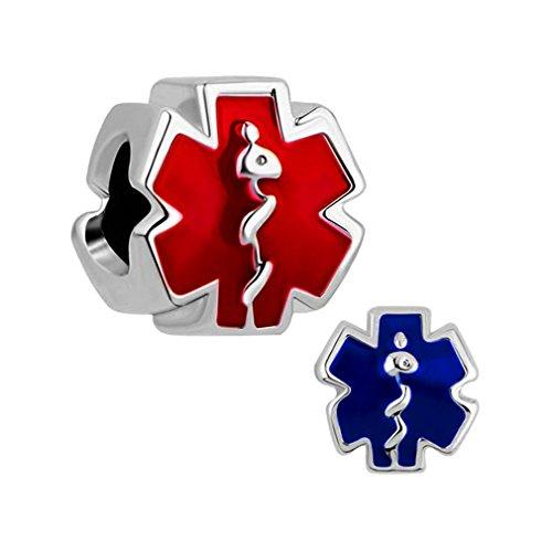 MYD Jewellery - Pulsera de cuentas de la suerte europea, diseño de estrella de la vida, color rojo y azul, paquete de 2 unidades