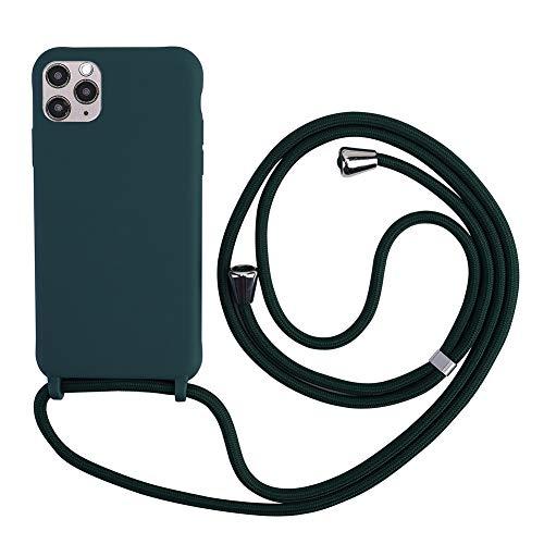 TANGNI Handykette Hülle für iPhone 11 Hülle Necklace Hülle mit Kordel zum Umhängen Silikon Handy Schutzhülle mit Band - Schnur mit Case zum umhängen -Grün