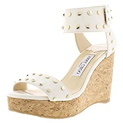 White Leather Nelly Leather Ankle Strap Wedge Sandals