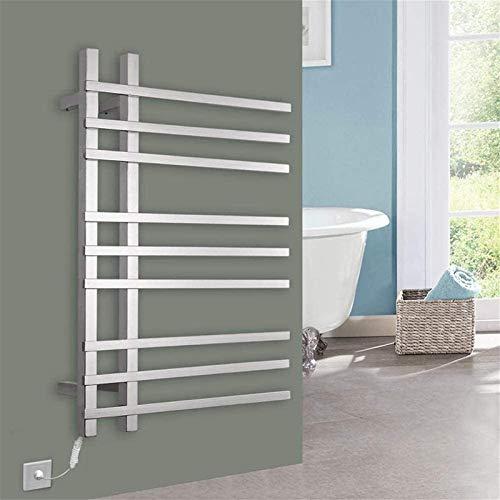 Toallero eléctrico Railleñas de toallas con calefacción Calentador de toallas, riel de toalla de toalla calentada de pared Radiador cuadrado de toalla eléctrica Toalla de acero inoxidable Calentador d
