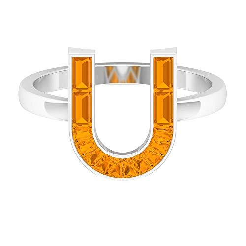 Anillo inicial de zafiro naranja creado 1,75 CT, letra U (calidad AAAA), 14K Oro blanco, Size:EU 61