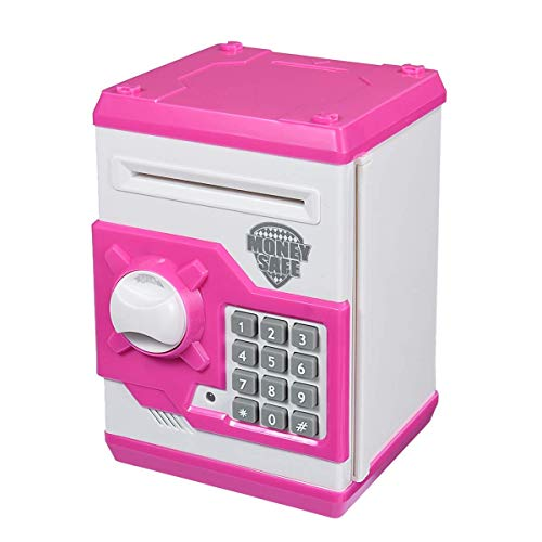 Qwifyu Kids Piggy Bank, Money Bank with Electronic Lock Auto Scroll Paper Money & Coin, Best Toy...