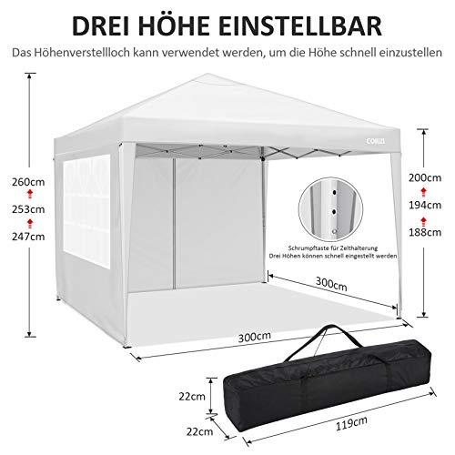 Cobizi 3x3M Folding Gazebo Waterproof Folding Tent Gazebo freienpavillion