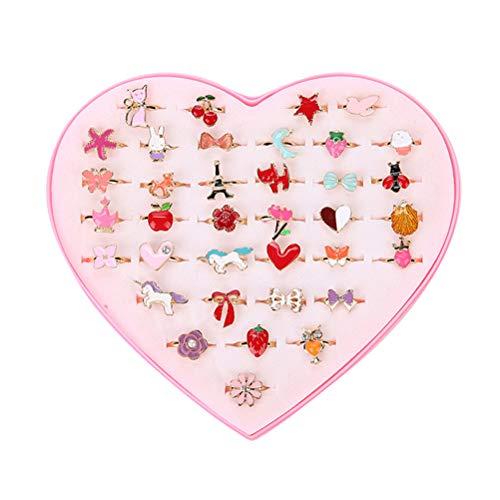 Creacom 36 PCS Set de Anillos Ajustables, Anillos de joyería para niñas con Caja en Forma de corazón para niños Niños Princess Dress Up Play Suministros de Fiesta de cumpleaños