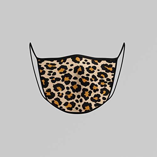 Maske Stylisch 100% Baumwolle für Gesicht mit Leopardenmuster - Leopard Design für Damen, Frauen (Leoprint braun)