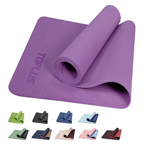 TOPLUS Yogamatte Gymnastikmatte Trainingsmatte Übungsmatte mit Tragegurt rutschfest gut für Anfänger bei Yoga für Fitness, Pilates & Gymnastik, 183 x 61 x 0,4 cm