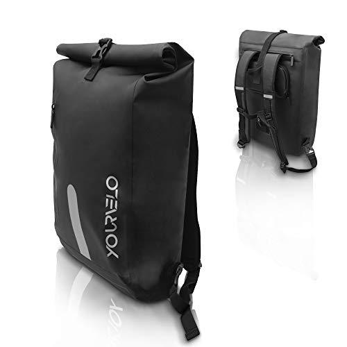 YourVelo - Fahrradtasche für Gepäckträger mit Laptopfach - 25L Volumen - 100{481019352863e09361673d95f62349da08ee1f8c66f3ddc8f4d3a93cbfa8fc1a} Wasserdicht - Schwarz - als Gepäckträgertasche & Rucksack einsetzbar - Fahrrad Hinten