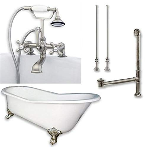 Cambridge Plumbing Cast Iron Slipper Clawfoot Tub 67' X 30' with 7' Deck Mount Faucet Drillings and Complete Brushed Nickel Plumbing Package