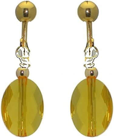L'OVALE Gold Plated Oval Crystal Light Topaz Clip On Earrings