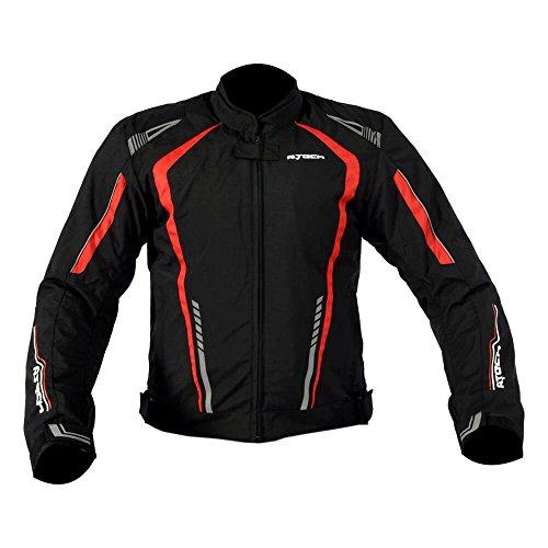 R-TECH Chaqueta de moto textil Marshal Chaqueta de motociclista para hombre (Negro/Rojo, XXXL)