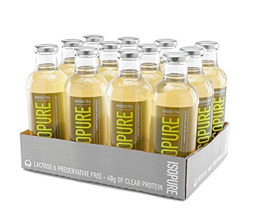 Nature's Best Isopure Green Tea Lemon - Liquid Protein Zero Carb Ready-to-Drink Post Workout Beverage - 20 Fl Oz (Pack of 12)