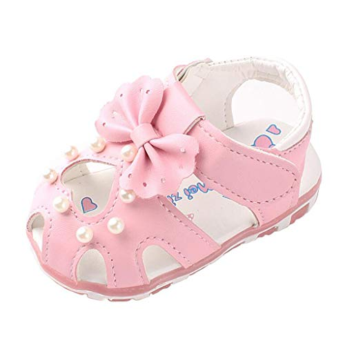Allence Babyschuhe, Kleinkind Blumen Mädchen Sandalen beleuchtet weichen Sohlen Prinzessin Baby Schuhe (19, Rosa2)
