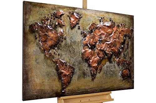Kunstloft Extravagante Relieve de Pared de Metal Metal Map' 120x80x4cm | Decoración XXL Escultura | Mapa del Mundo Mapa Tierra Continente Mapa | Cuadro Hecho a Mano Imagen Mural de Arte Moderno
