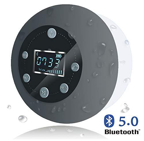 VICTORSTAR Altoparlante Bluetooth Impermeabile da Doccia Altoparlante S602 con Microfono Incorporato Radio FM Schermo LCD Carta di TF Giocando Ventosa per Doccia/Bagno/Casa/Esterno (Grigio)