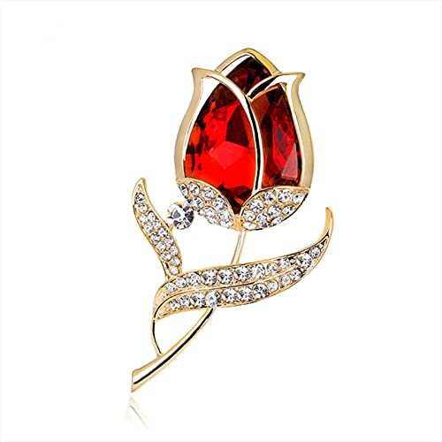 Nuevo broche de flores de tulipán elegante para mujer, alfileres de cristal de diamantes de imitación para vestido femenino, accesorios para abrigo, broche de moda, regalo de joyería