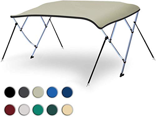 """Naviskin Light Grey 3 Bow 6'L x 46"""" H x 54""""-60"""" W Bimini Top Cover Includes Mounting Hardwares,Storage Boot with 1 Inch Aluminum Frame"""