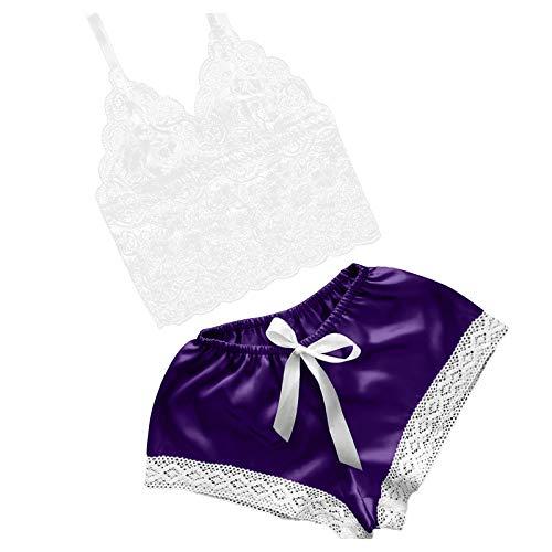 LEEDY Damen Satin Nachthemd Babydoll Spitze Dessous Sexy Lingerie Nachtwäsche V...