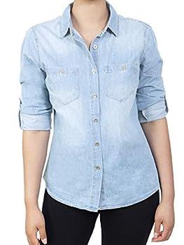 MixMatchy Women s Classic Roll Up Sleeve Button Down Chambray Denim Shirt Light Denim XL