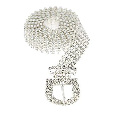 SP Sophia Collection Glitterati 5 Row Chic Women's Fashion Crystal Rhinestone Buckle Chain Belt in Silver