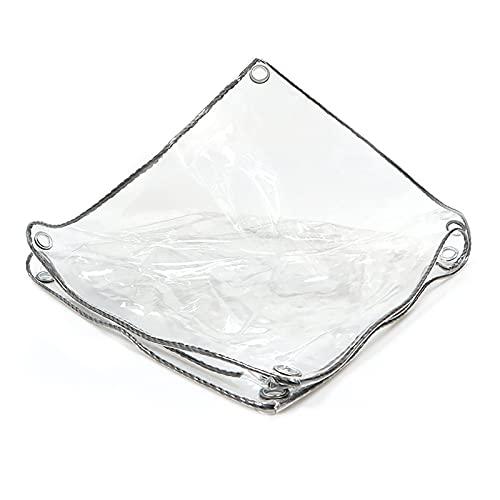 SOME Lona Impermeable Transparente, 0.5mm Lona de PVC Impermeable de con Ojales, Toldo Impermeables Exterior Multiusos, para Muebles de Jardín, Piscina, Coche