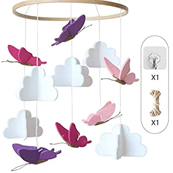 Baby Crib Mobile Clouds Butterflies Infant Crib Decoration Nursery Decoration for Boys and Girls Baby Shower Gift Unique Crib Mobile Decor