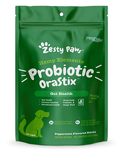 Zesty Paws Probiotic Sticks for Dogs - with Hemp Seed, Curcumin, Ginger Root & Taurine - Supports Gut Function & Flora + Immune System - Proprietary Healthy Teeth & Gum Blend - 12oz