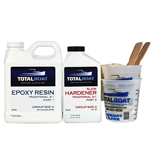 TotalBoat 5:1 Epoxy Resin Kit (Gallon, Slow Hardener), Marine Grade Epoxy for Fiberglass and Wood Boat Building and Repair