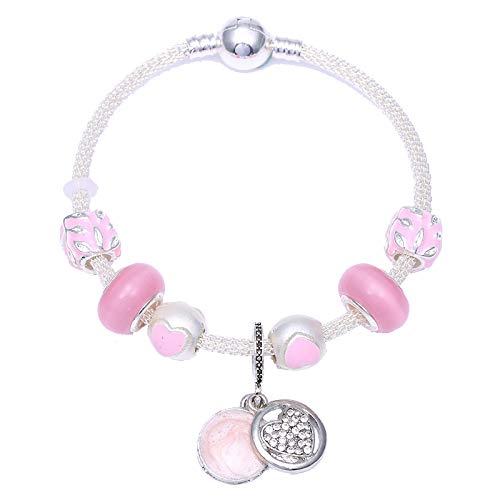 Plata plateada estilo europeo encanto pulsera DIY pulsera para las mujeres romántica rosa amor corazón joyería regalo C01 21cm