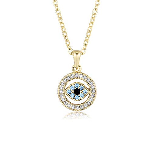 Obidos Evil Eye Pendant Necklace Lucky Jewelry Gold Plated Chain for Women Girls Valentine's Day Party Special Days