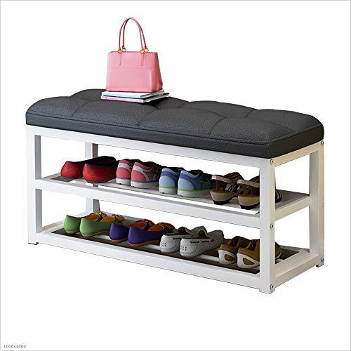 ZAIHW Zapatero Caja de Zapatos de 2 Niveles - Taburete de sofá de Metal multifunción con cojín de Asiento, 4 Colores (Color: Negro, Tamaño: 80cm)